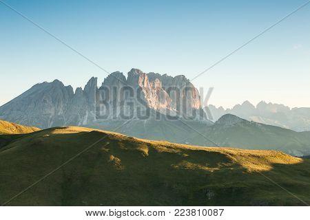 Dolomites Alps summer sunny green valley, Italy