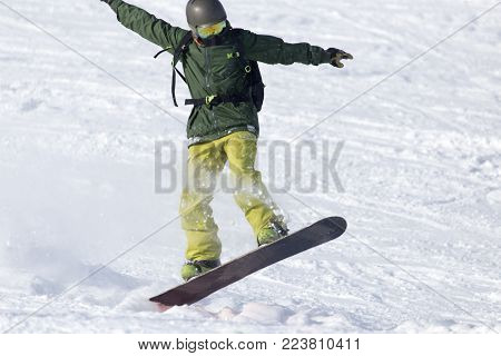snowboarder rides . In the park in nature poster