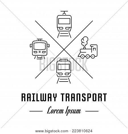 Vector logo railway transport. Hipster emblem, label or banner for railway transport. Line sign with elements. Concept brand.