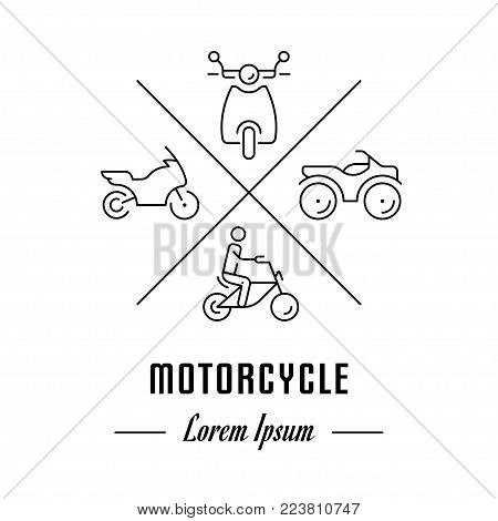 Vector logo motorcycle. Hipster emblem, label or banner for motorcycle. Line sign with elements. Concept brand.