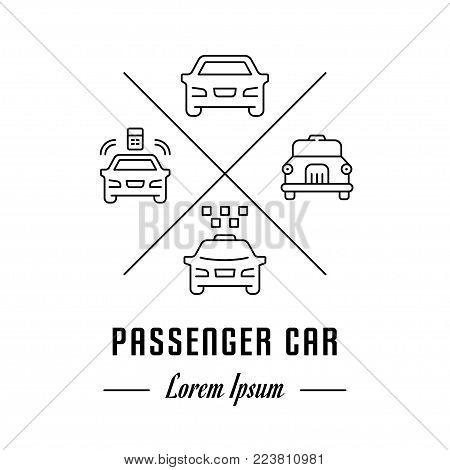 Vector logo passenger car. Hipster emblem, label or banner for passenger car. Line sign with elements. Concept brand.