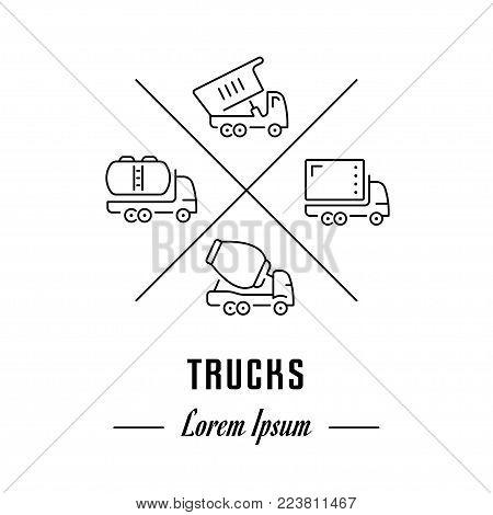 Vector logo trucks. Hipster emblem, label or banner for trucks. Line sign with elements. Concept brand.