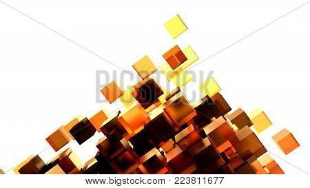 Abstract Image Of Cubes Background In Orange Toned. Template For Your Technology Design. 3D Illustration