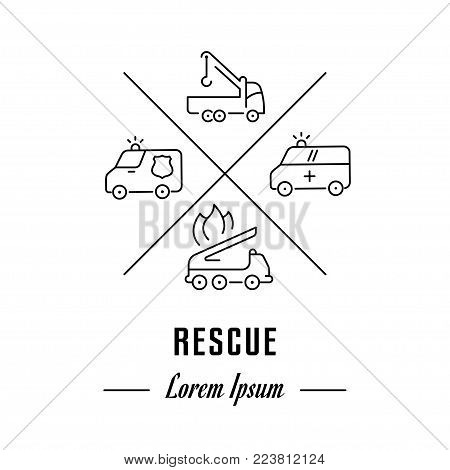 Vector logo rescue. Hipster emblem, label or banner for rescue. Line sign with elements. Concept brand.