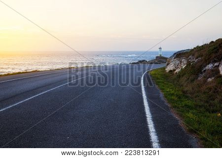 Road To Lighthouse. Roncudo Lighthouse In Spain