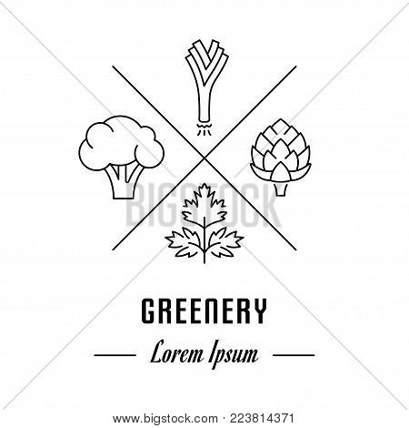 Vector logo greenery. Hipster emblem, label or banner for greenery. Line sign with elements. Concept brand.