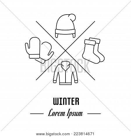 Vector logo winter. Hipster emblem, label or banner for winter. Line sign with elements. Concept brand.