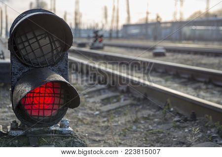 Railway bright red traffic light stop caution warning signal