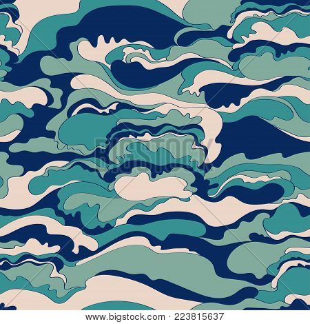 Pattern with the image of the cream texture of blue, pink and gray shades. Abstract background
