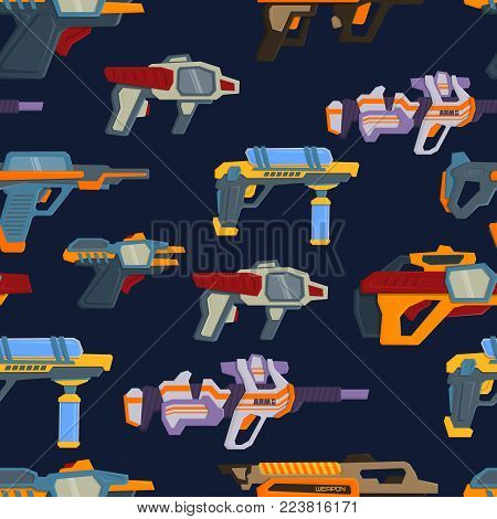 Seamless pattern with space weapons. Vector illustration