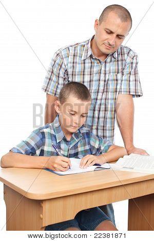 Father Verifying Son's Homework