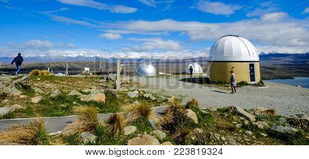 Mackenzie, New Zealand - Nov 3, 2016. People Visit Mount John University Observatory. The Observator