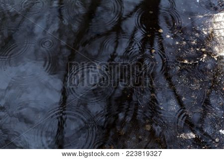 Beautiful autumn dark water puddle with rain drops and reflections background