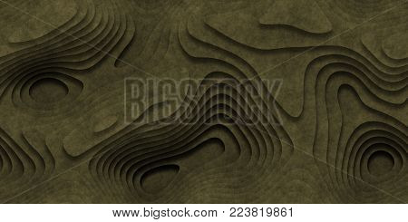 Green Seamless Topographic Landscape Background. Wavy Relief Illustration Texture.