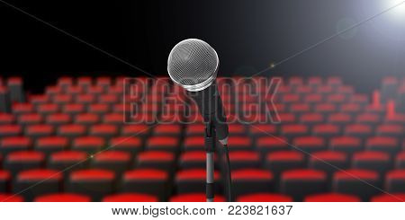 Microphone On The Stage, Blur Theater Seats Background. 3D Illustration