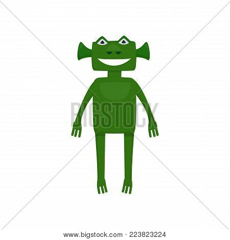 A cute cartoon character with an alien with locators. Pearsonage for children's parties and parties. Vector illustration on white background
