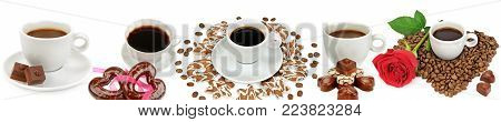 Coffee and hot chocolate in white cups, candy and cookies isolated on white background. Panoramic collage. Wide photo with free space for text.