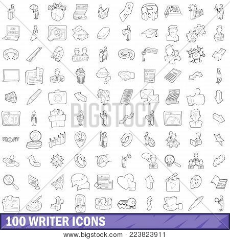 100 writer icons set in outline style for any design vector illustration
