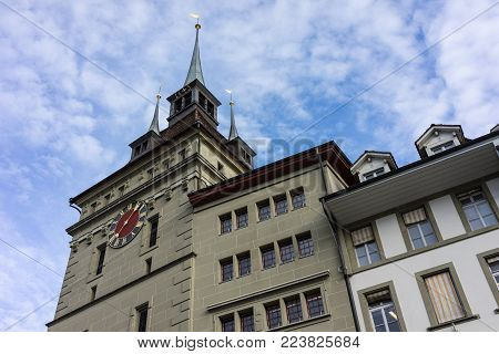 zytglogge tower in berne switzerland low angle view