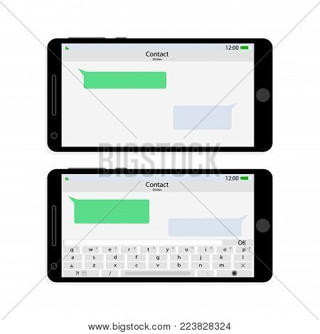 Smartphone screen interface horizontally messaging. Vector smart display with message bubble and dialog messaging texting illustration