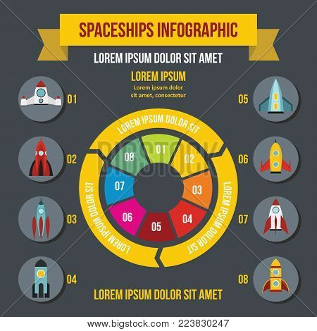 Rocket spaceships infographic banner concept. Flat illustration of rocket spaceships infographic vector poster concept for web