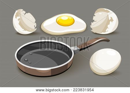 Set for healthy breakfast pan with oil frying chicken roasted eggs yolk and broken shells, isolated white background. Eps10 vector illustration.