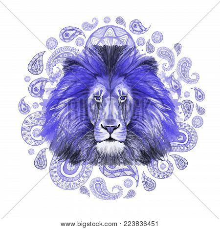 Watercolor drawing of animal mammal of predator blue lion, blue mane, lion-king of beasts, portrait of majesty, strength, kingdom, india, indian patterns, with elements of turkish cucumber on white ba