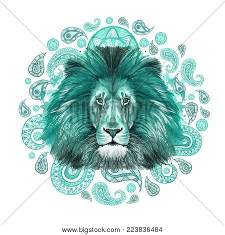 Watercolor drawing of an animal mammal predator, turquoise lion, turquoise mane, lion-king of beasts, portrait of majesty, strength, kingdom, india, Indian patterns, with elements of turkish cucumber