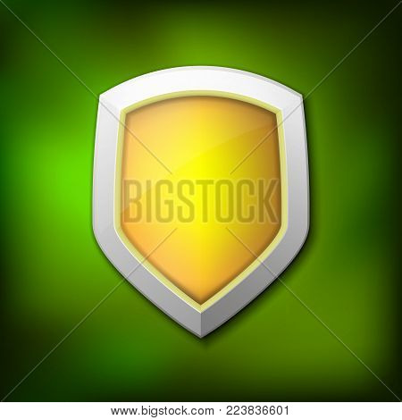 Protection shield concept with banner. Symbol of protection and reliability. Vector illustration ESP 10.