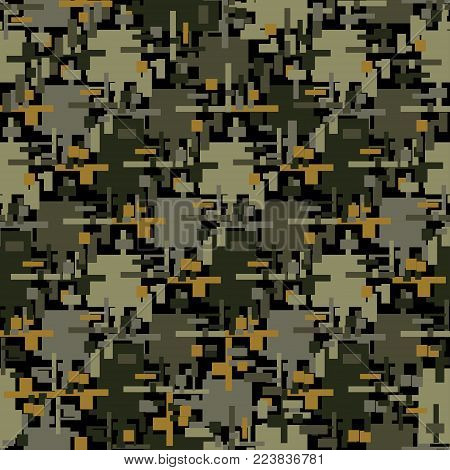 Abstract camouflage seamless pattern texture military repeats army green hunting clothes. Wallpaper for textile and fabric. Fashion style.