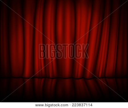 Red velvet curtain with stage. Spotlight on stage curtain. Vector illustration. Eps 10.