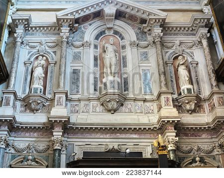 13.06.2017, Rimini, Italy: Piazza Cavour Square Medieval Architecture, Statue Of Pope Paul V