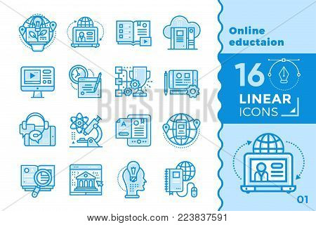 Linear icon set of Online education and e-learning. Material design icon suitable for print, website and presentation