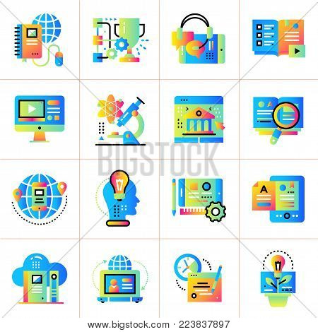 Flat icon set of Online education and e-learning. Material design icon suitable for print, website and presentation