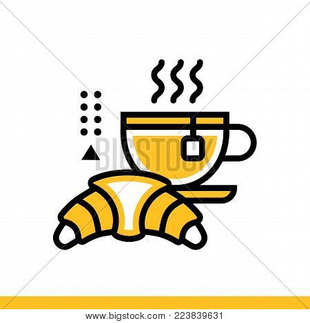 Outline icon Breakfast. Hotel services. Material design icon suitable for print, website and presentation