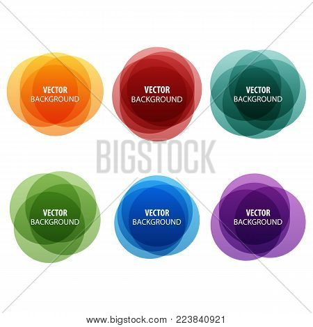 Colorful round shape abstract banners. Vector set. Graphic overlay banners,label, tags, speech bubbles design