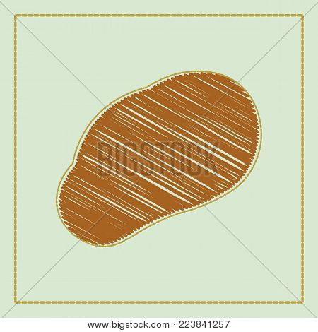 vector brown potatoes set isolated on white background. potato label design template