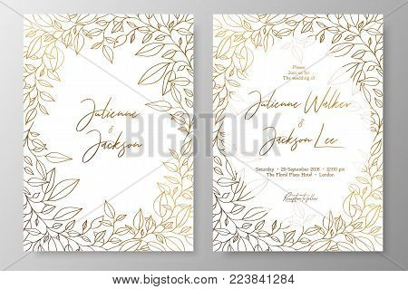 Gold invitation with frame of leaves. Gold cards templates for save the date, wedding invites, greeting cards, postcards, thank you card, menu, flyer and backgrounds