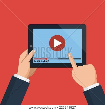 Hands holding holding tablet computer with video player on screen. Digital tablet pc. Vector flat design concept online video