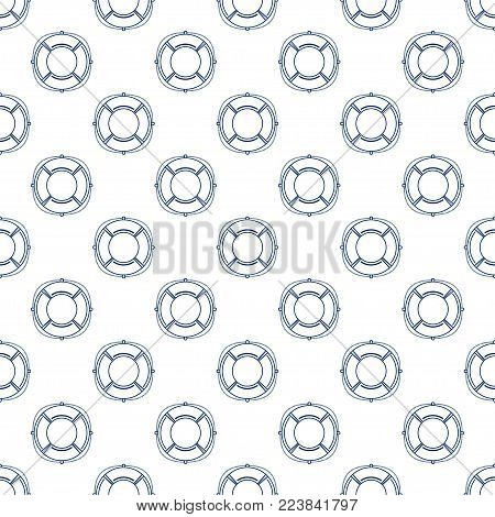 Blue Lifebuoy on White Background, Seamless Maritime Travel Pattern, Line Style Design,  Illustration