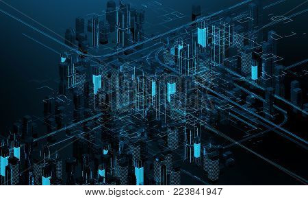 Futuristic skyscrapers in the flow of information. The flow of digital data. city of the future 3d render. 3D illustration. The flow of digital data. city of the future. 3D rendering