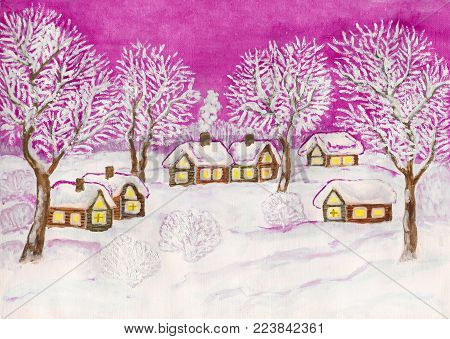 Hand painted Christmas illustration, watercolor and white gouache, winter landscape with village houses and trees on pink.