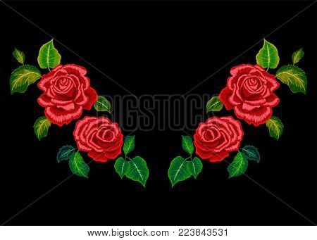 Embroidery neckline pattern with red roses. Vector embroidered floral design for fashion wearing.