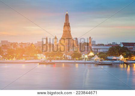 Arun temple river front, Bankok Thailand landmark