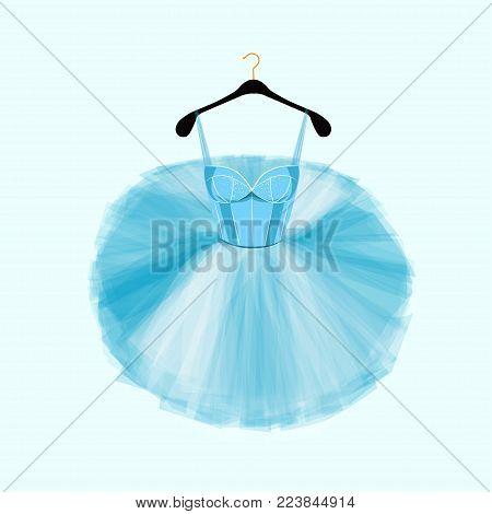 Blue vector dress for ballet dencer. Ballet tutu dress. Fashion illustration