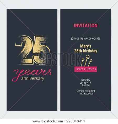 25 years anniversary invitation vector illustration. Graphic design template with golden glitter stamp for 25th anniversary party or dinner invite