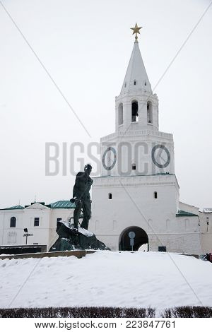 Kazan. Tatarstan. Russian Federation. The Spassky Tower of the Kazan Kremlin.