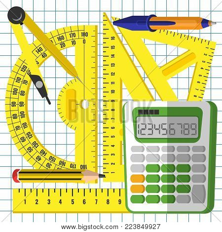 School mathematics kit, measuring accessories and a calculator on the background of a sheet in a cage