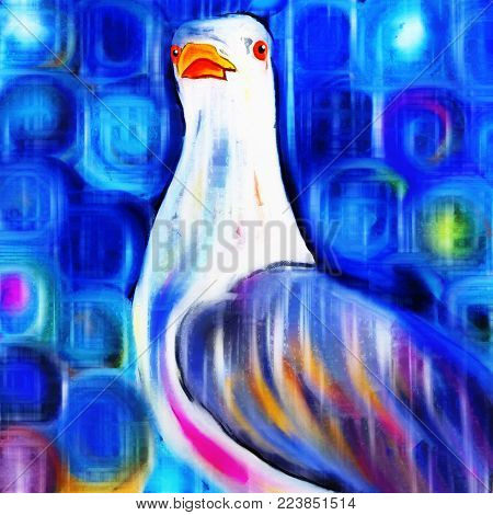 A bright and colorful digital painting of a seagull.