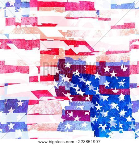 A messed slightly grunge American flag collage design.